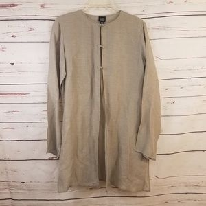 Eileen Fisher Beige Liner Silk Blend Jacket Top